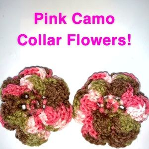 Two Pink Camo Crocheted Dog Collar Flowers